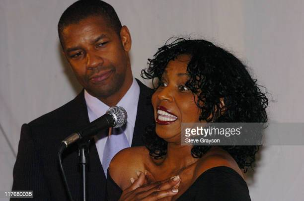 Denzel Washington and Pauletta Washington during A Hollwood All-Star Tribute to the NBA's Leah Wilcox at L'Ermitage Hotel in Beverly Hills,...