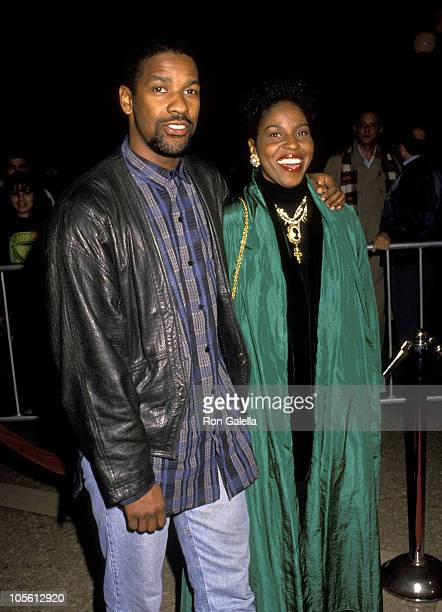 Denzel Washington and Pauletta Washington during Mississippi Masala Premiere February 11 1992 at Cineplex Odeon Theater in Century City California...