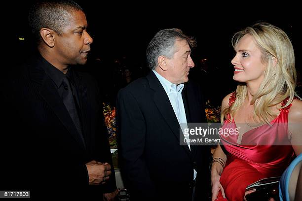 Denzel Washington and Robert de Niro attend the dinner in honour of Nelson Mandela celebrating his 90th birthday at Hyde Park on June 25 2008 in...