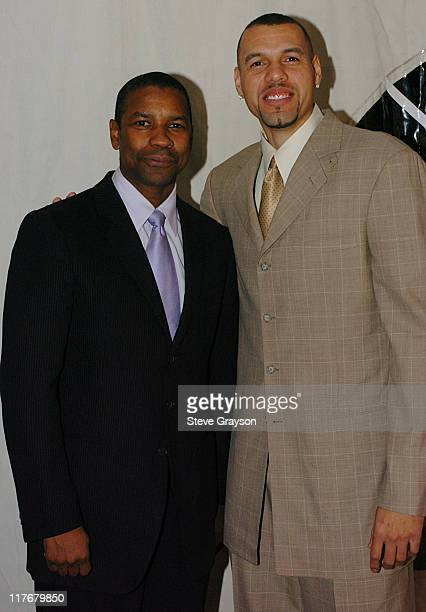 Denzel Washington and Tracy Murray during A Hollwood AllStar Tribute to the NBA's Leah Wilcox at L'Ermitage Hotel in Beverly Hills California United...