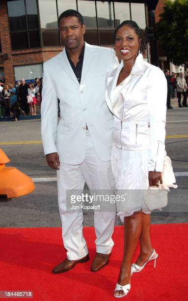 Denzel Washington and wife Pauletta during Man On Fire Los Angeles Premiere at Mann National Theatre in Westwood California United States