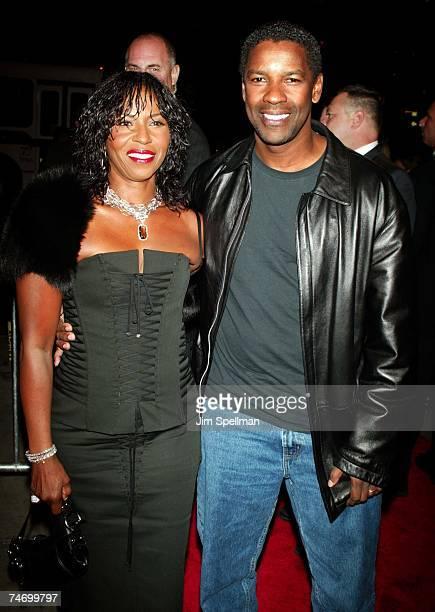 Denzel Washington and wife Pauletta Washington at the Loews Cineplex Lincoln Square in New York City New York