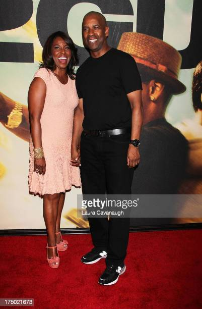 Denzel Washington and wife Pauletta Washington attends the 2 Guns premiere at SVA Theater on July 29 2013 in New York City