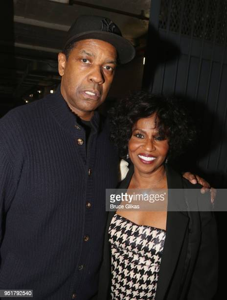 Denzel Washington and wife Pauletta Washington pose at the opening night of The Iceman Cometh on Broadway at The Jacobs Theatre on April 26 2018 in...