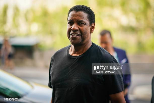 Denzel Washington arrives at Laperouse restaurant where a pre-wedding dinner for Zoe Kravitz and Karl Glusma is to be held on June 28, 2019 in Paris,...