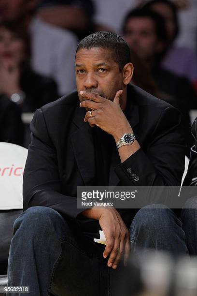 Denzel Washington attends a game between the Milwaukee Bucks and the Los Angeles Lakers at Staples Center on January on January 10 2010 in Los...