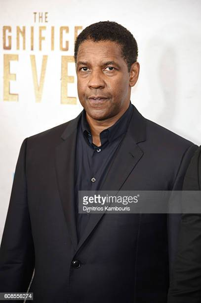 Denzel Washington attends The Magnificent Seven premiere at Museum of Modern Art on September 19 2016 in New York City