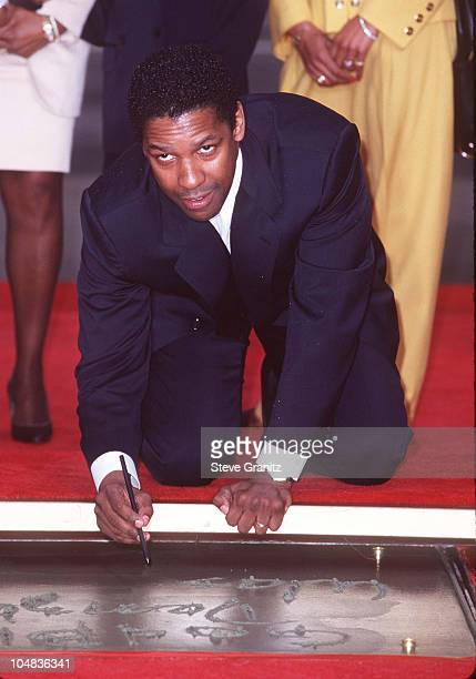 Denzel Washington during Denzel Washington Footprint Ceremony at Mann's Chinese Theatre in Hollywood California United States