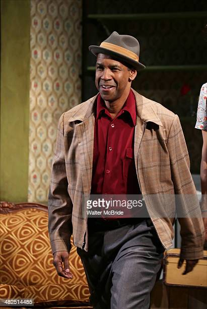 Denzel Washington during the Broadway Opening Night Curtain Call for 'A Raisin In The Sun' at the Barrymore Theatre on April 3 2014 in New York City