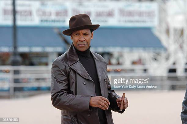 """Denzel Washington is on the beach at Coney Island where he is filming scenes for his new movie """"American Gangster."""""""