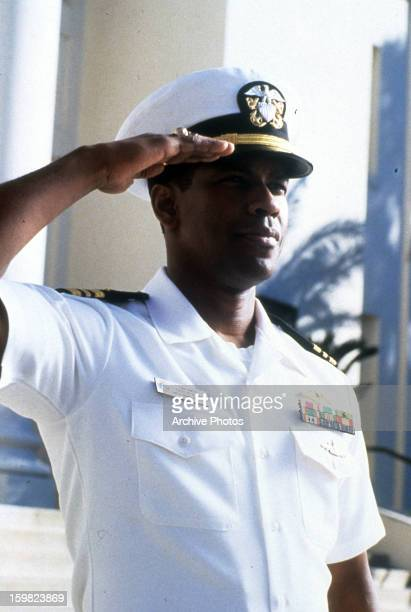 Denzel Washington saluting in a scene from the film 'Crimson Tide', 1995.