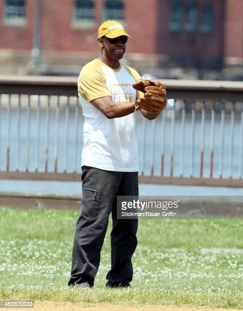 Denzel Washington sighting filming a scene playing softball for the film The Equalizer on June 24 2013 in Boston Massachusetts
