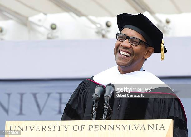 Denzel Washington speaks during the 2011 University Of Pennsylvania Commencement at the University of Pennsylvania on May 16 2011 in Philadelphia...