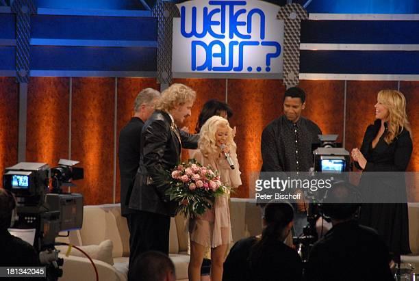Denzel Washington Thomas Gottschalk Christina Aguilera dahinter Robert Atzorn Iris Berben Linda de Mol Kameramann ZDFShow Wetten dass Bremen...