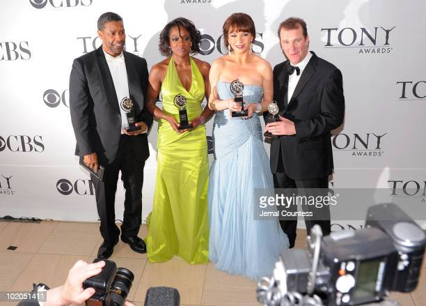 Denzel Washington Viola Davis Catherine ZetaJones and Douglas Hodge pose with their awards at the 64th Annual Tony Awards at The Sports Club/LA on...
