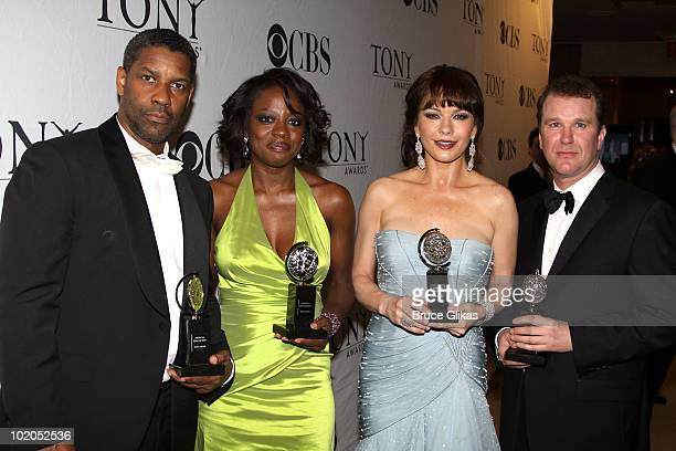 Denzel Washington Viola Davis Catherine ZetaJones and Douglas Hodge attend the 64th Annual Tony Awards at The Sports Club/LA on June 13 2010 in New...