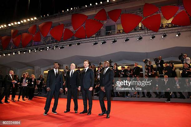 Denzel Washington Walter Mirisch Chris Pratt and Antoine Fuqua attend the premiere of 'The Magnificent Seven' during the 73rd Venice Film Festival at...