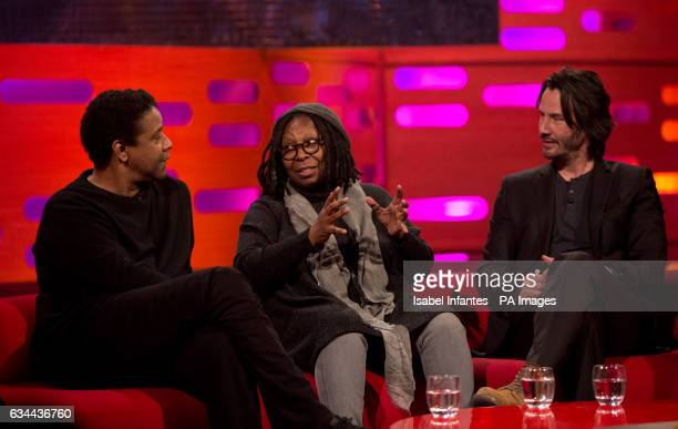 Denzel Washington Whoopi Goldberg and Keanu Reeves during the filming of the Graham Norton Show at The London Studios south London to be aired on BBC...