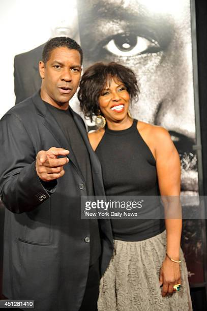 Denzel Washington with his wife Pauletta at the New York Premiere of the movie Safe House held at the SVA Theater