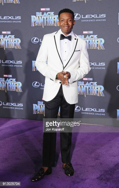 Denzel Whitaker attends the Los Angeles Premiere 'Black Panther' at Dolby Theatre on January 29 2018 in Hollywood California