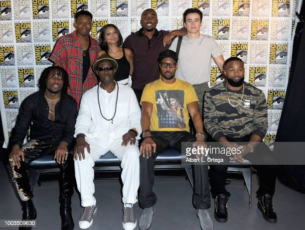 Denzel Whitaker Kat Graham Demetrius Shipp Jr and Keean Johnson Shameik Moore Wesley Snipes RZA and Tyron Woodley pose at RZA Movies Music and...