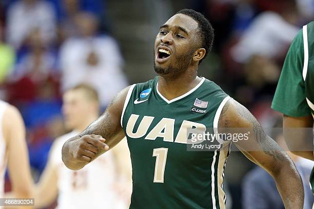 Denzell Watts of the UAB Blazers reacts against the Iowa State Cyclones during the second round of the 2015 NCAA Men's Basketball Tournamenat at the...