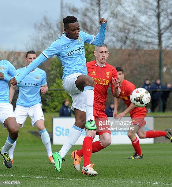 Denziel Boadu of Manchester City and David Roberts of Liverpool in action during the Barclays Premier League Under 18 fixture between Liverpool and...