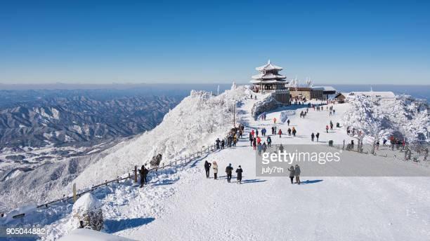 冬には、덕유산 설천봉 で徳裕櫟ピーク - 韓国 ストックフォトと画像