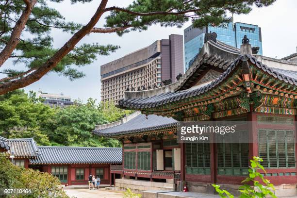 Deoksugung palace and modern buildings