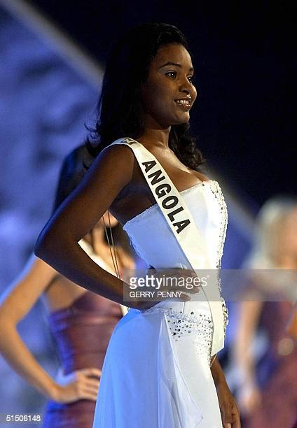 Deolinda Manuel Viela 23 of Angola poses on stage during the Miss World final at the Millenium Dome in London 30 November 2000