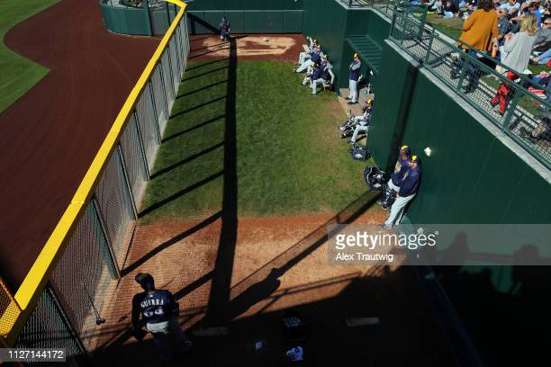 Deolis Guerra of the Milwaukee Brewers warms up in the bullpen during a Spring Training against the Chicago Cubs on Saturday February 23 2019 at...