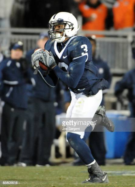 Deon Butler of the Penn State Nittany Lions pulls in a pass against the Michigan State Spartans on November 22 2008 at Beaver Stadium in State...