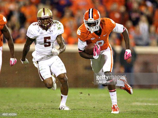 Deon Cain of the Clemson Tigers carries the ball after making a catch during the game against the Boston College Eagles at Memorial Stadium on...