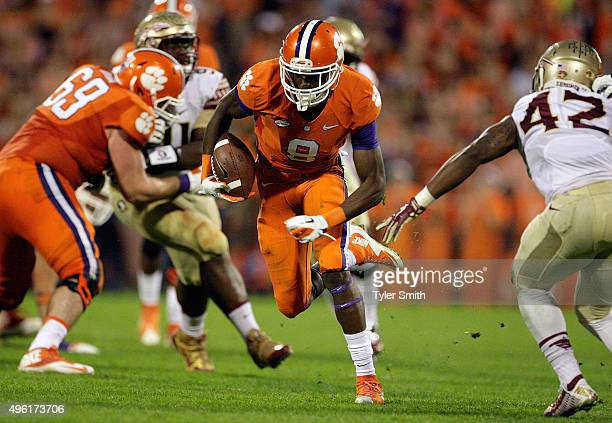Deon Cain of the Clemson Tigers catches a pass for a touchdown during their game against the Florida State Seminoles at Memorial Stadium on November...
