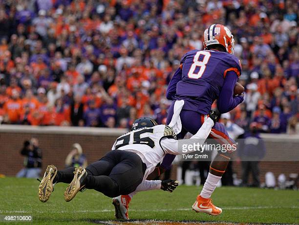 Deon Cain of the Clemson Tigers catches a pass for a touchdown during their game against the Wake Forest Demon Deacons at Memorial Stadium on...