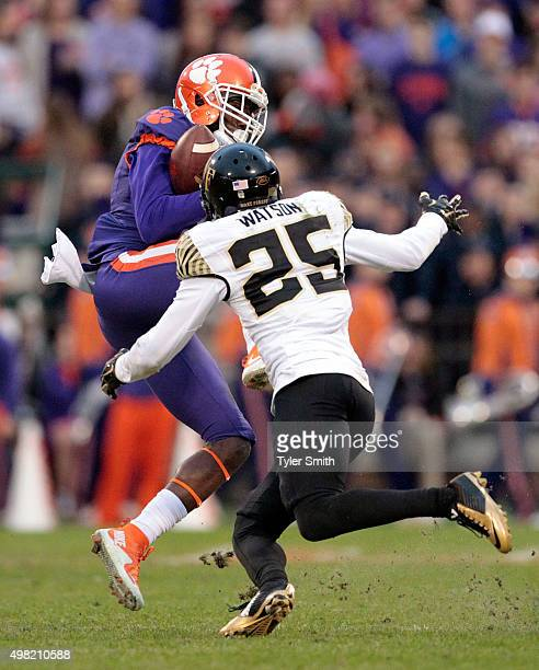 Deon Cain of the Clemson Tigers catches a pass over Brad Watson of the Wake Forest deamon Deacons during their game at Memorial Stadium on November...