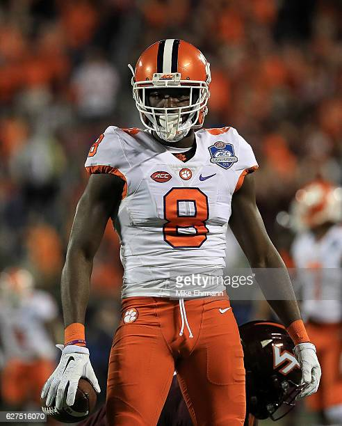 Deon Cain of the Clemson Tigers celebrates a first down during the ACC Championship against the Virginia Tech Hokies on December 3 2016 in Orlando...