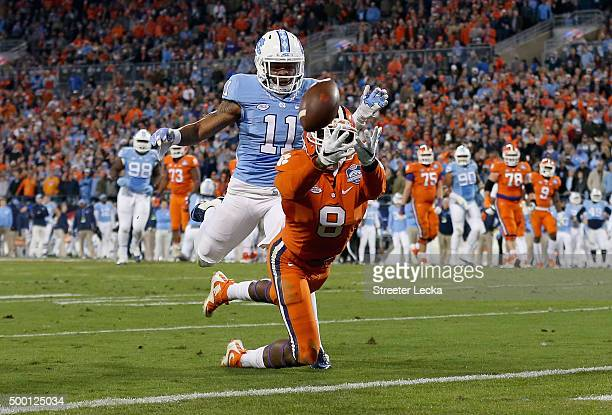 Deon Cain of the Clemson Tigers dives for the ball against the North Carolina Tar Heels in the 2nd quarter during the Atlantic Coast Conference...