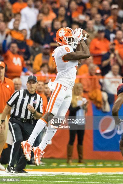 Deon Cain of the Clemson Tigers makes a pass reception during the first half against the Syracuse Orange at the Carrier Dome on October 13 2017 in...