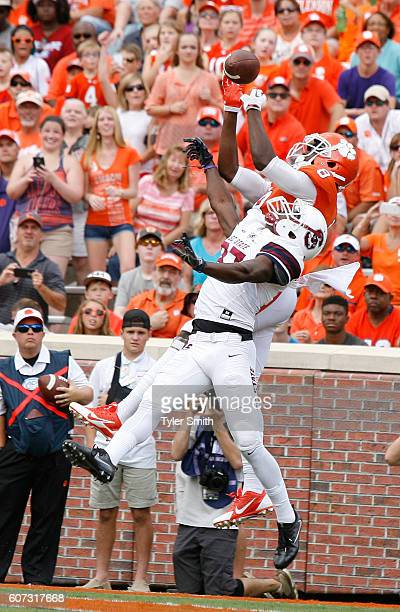 Deon Cain of the Clemson Tigers reaches for a pass during the game against the SC State Bulldogs at Memorial Stadium on September 17 2016 in Clemson...
