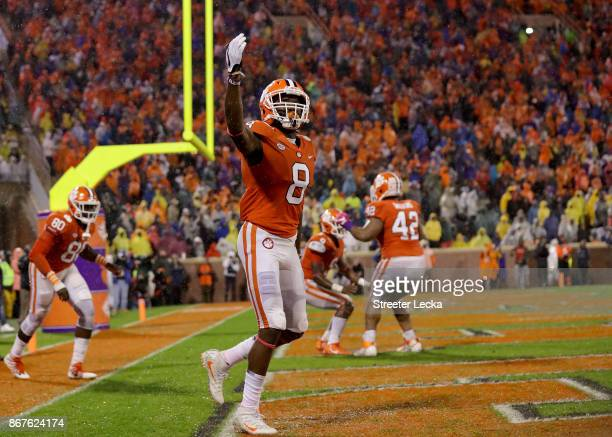 Deon Cain of the Clemson Tigers reacts after his team scores a touchdown against the Georgia Tech Yellow Jackets during their game at Memorial...
