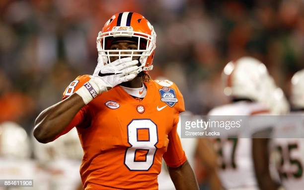 Deon Cain of the Clemson Tigers reacts after scoring a touchdown against the Miami Hurricanes in the third quarter during the ACC Football...