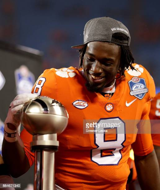 Deon Cain of the Clemson Tigers reacts to seeing the trophy after the ACC Football Championship at Bank of America Stadium on December 2 2017 in...