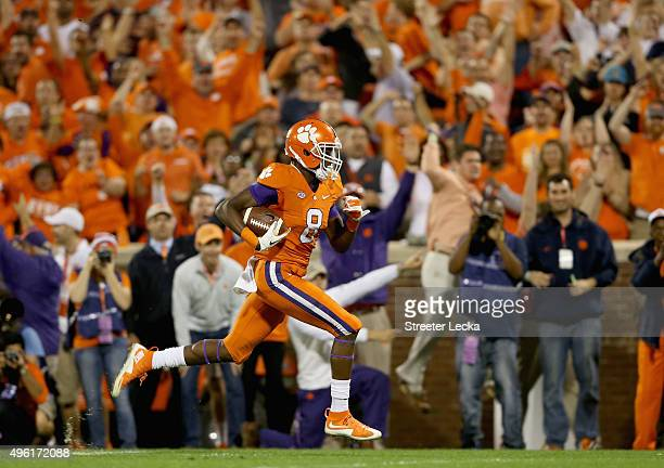 Deon Cain of the Clemson Tigers runs for a touchdown against the Florida State Seminoles during their game at Memorial Stadium on November 7 2015 in...