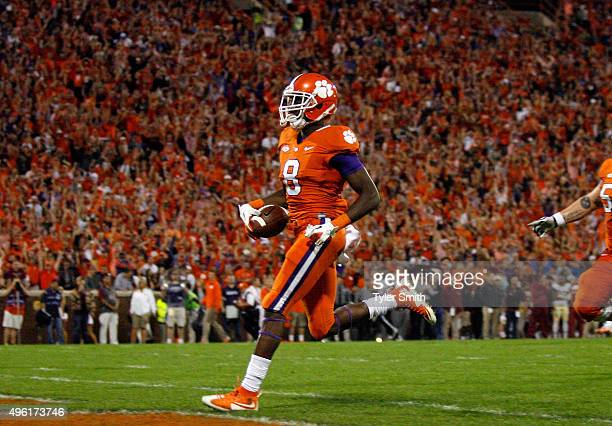 Deon Cain of the Clemson Tigers walks into the endzone for a touchdown during the game against the Florida State Seminoles at Memorial Stadium on...