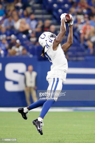 Deon Cain of the Indianapolis Colts catches a pass during the preseason game against the Cleveland Browns at Lucas Oil Stadium on August 17 2019 in...