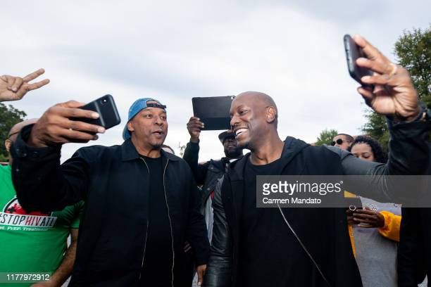 Deon Taylor and Tyrese Gibson interact with fans during the Black Blue cast members' visit to Morehouse College on October 24 2019 in Atlanta Georgia