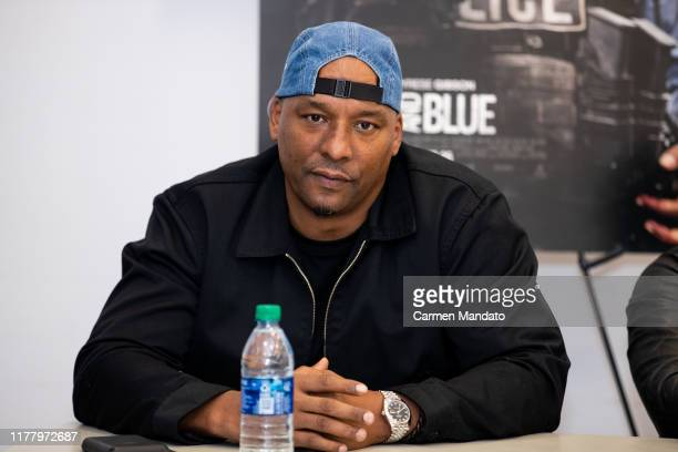 Deon Taylor is seen during the Black Blue cast members' visit to Morehouse College on October 24 2019 in Atlanta Georgia