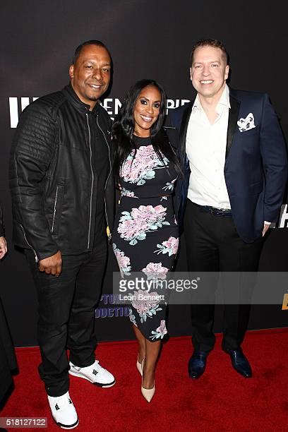 Deon Taylor Kenya Duke and Gary Owen attend the Premiere Of Freestyle Releasing's Meet The Blacks at ArcLight Hollywood on March 29 2016 in Hollywood...