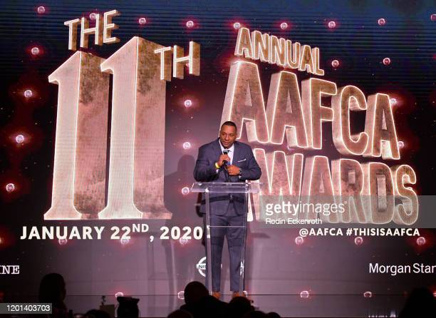 Deon Taylor speaks at The African American Film Critics Association's 11th Annual AAFCA Awards at Taglyan Cultural Complex on January 22 2020 in...